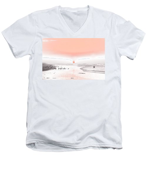 Pastel Sunrise Beach Men's V-Neck T-Shirt