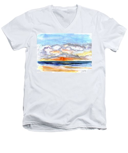 Men's V-Neck T-Shirt featuring the painting Sunset Clouds by Clara Sue Beym