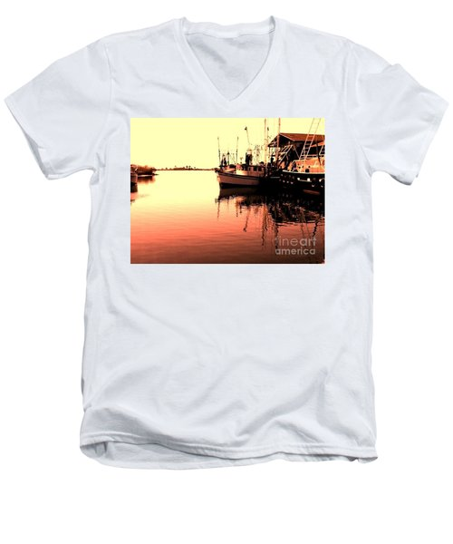Men's V-Neck T-Shirt featuring the photograph Sunset by Janice Spivey