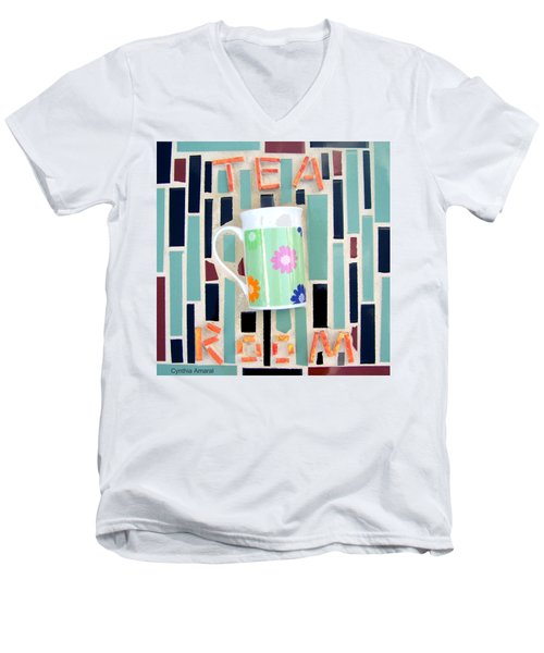 Men's V-Neck T-Shirt featuring the mixed media Tea Room by Cynthia Amaral