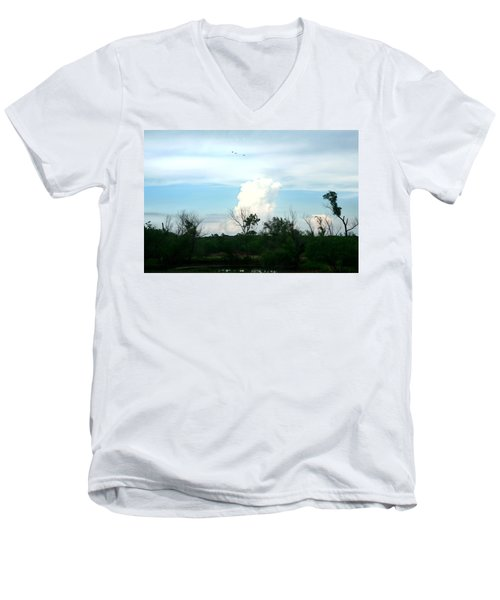 Men's V-Neck T-Shirt featuring the photograph The Back Forty by Lon Casler Bixby