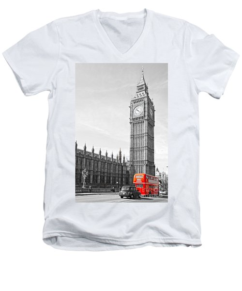 Men's V-Neck T-Shirt featuring the photograph The Big Ben - London by Luciano Mortula