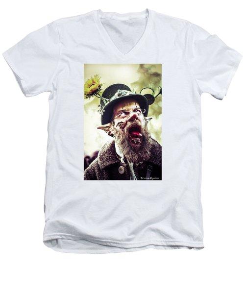Men's V-Neck T-Shirt featuring the photograph The Fool Goblin by Stwayne Keubrick
