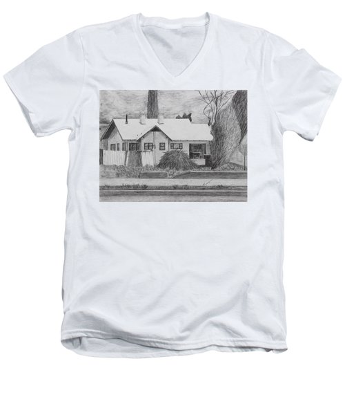 Men's V-Neck T-Shirt featuring the drawing The House Across by Kume Bryant