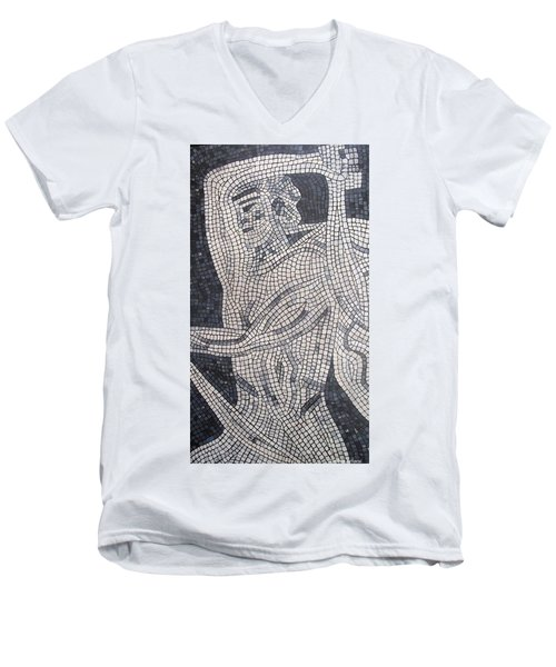 Men's V-Neck T-Shirt featuring the painting The Hunter by Cynthia Amaral