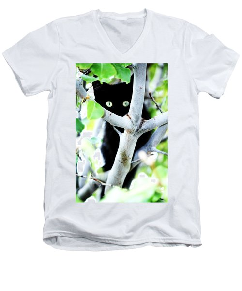 Men's V-Neck T-Shirt featuring the photograph The Little Huntress by Jessica Shelton