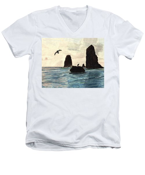 The Needles Men's V-Neck T-Shirt by Wendy McKennon