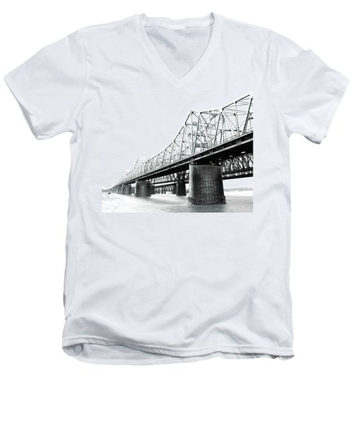 Men's V-Neck T-Shirt featuring the photograph The Old Bridges At Memphis by Lizi Beard-Ward