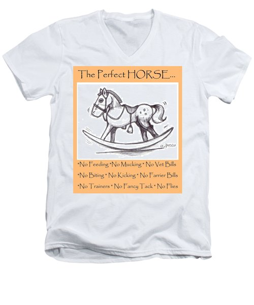 Men's V-Neck T-Shirt featuring the drawing the Perfect Horse by George Pedro