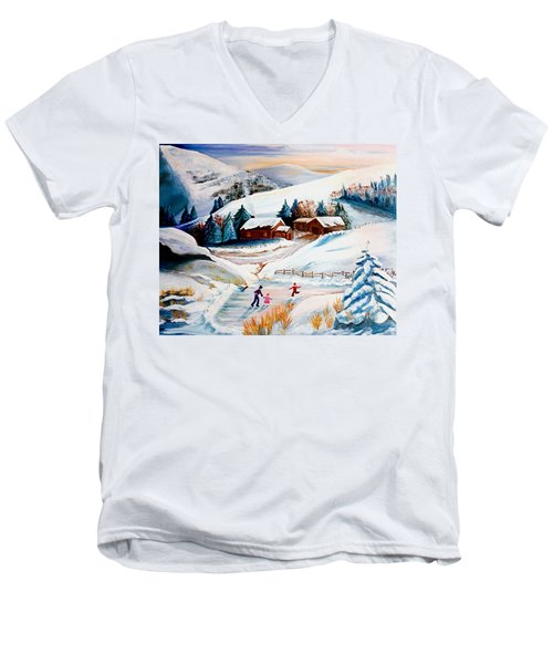 The Pond In Winter Men's V-Neck T-Shirt by Renate Nadi Wesley