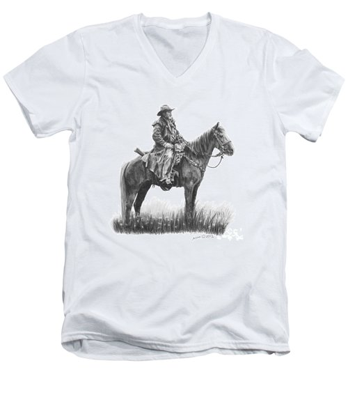 Men's V-Neck T-Shirt featuring the drawing the Quest by Marianne NANA Betts