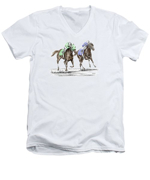 Men's V-Neck T-Shirt featuring the drawing The Stretch - Tb Horse Racing Print Color Tinted by Kelli Swan