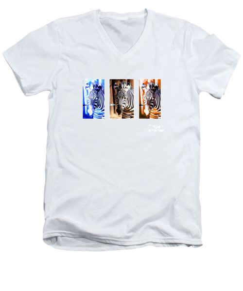 Men's V-Neck T-Shirt featuring the photograph The Three Zebras White Borders by Rebecca Margraf