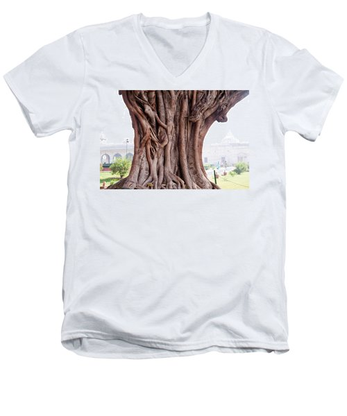 The Twisted And Gnarled Stump And Stem Of A Large Tree Inside The Qutub Minar Compound Men's V-Neck T-Shirt by Ashish Agarwal