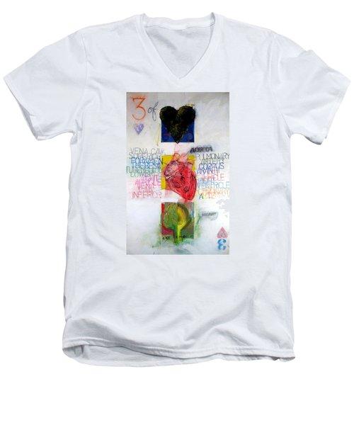 Three Of Hearts 32-52 Men's V-Neck T-Shirt by Cliff Spohn