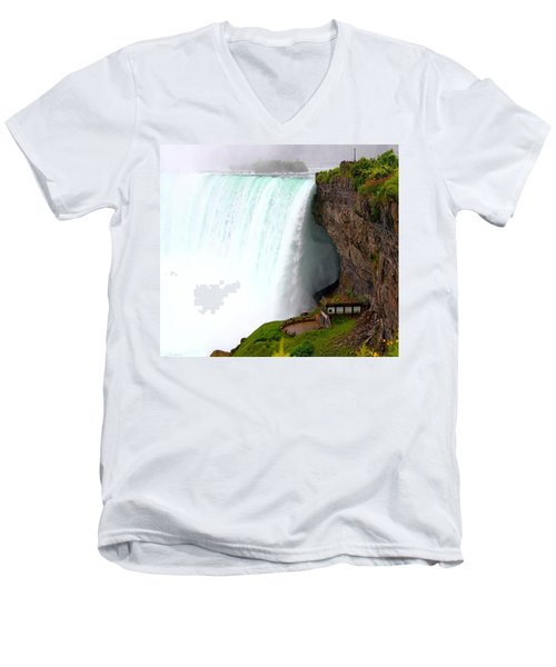 Men's V-Neck T-Shirt featuring the photograph Thundering Force by Davandra Cribbie