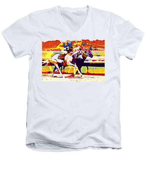 Men's V-Neck T-Shirt featuring the photograph To The Finish by Alice Gipson