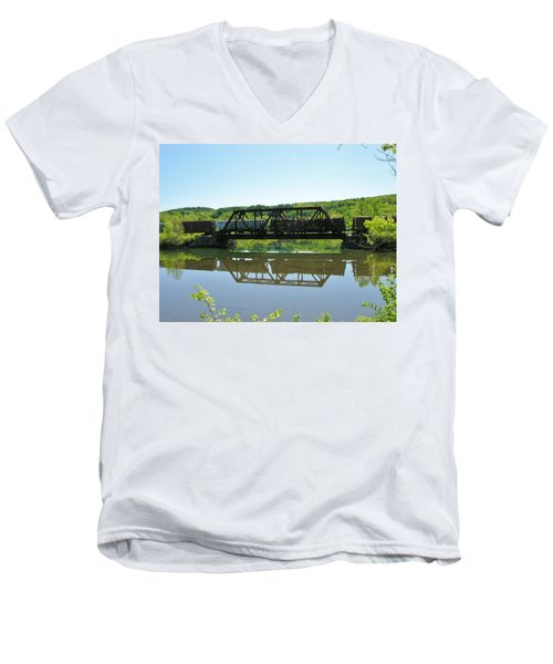 Men's V-Neck T-Shirt featuring the photograph Train And Trestle by Sherman Perry