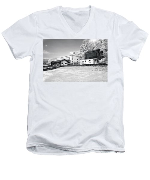 Men's V-Neck T-Shirt featuring the photograph Train Depot by Mary Almond
