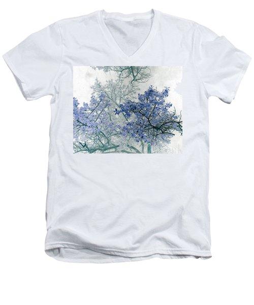 Trees Above Men's V-Neck T-Shirt by Rebecca Margraf
