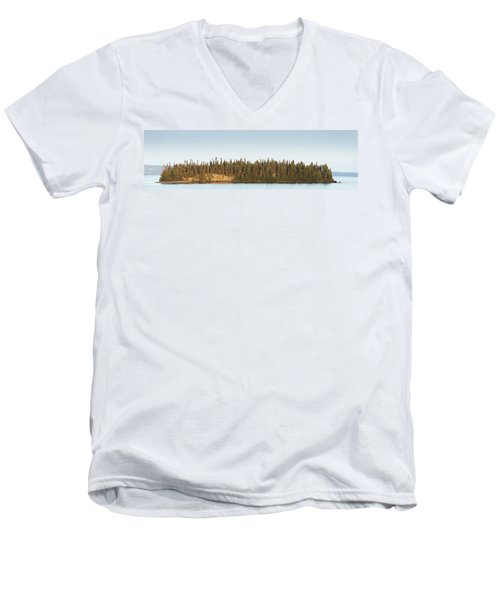 Men's V-Neck T-Shirt featuring the photograph Trees Covering An Island On Lake by Susan Dykstra