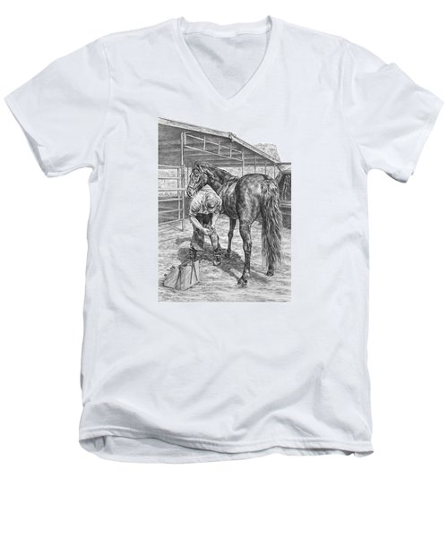 Trim And Fit - Farrier With Horse Art Print Men's V-Neck T-Shirt by Kelli Swan