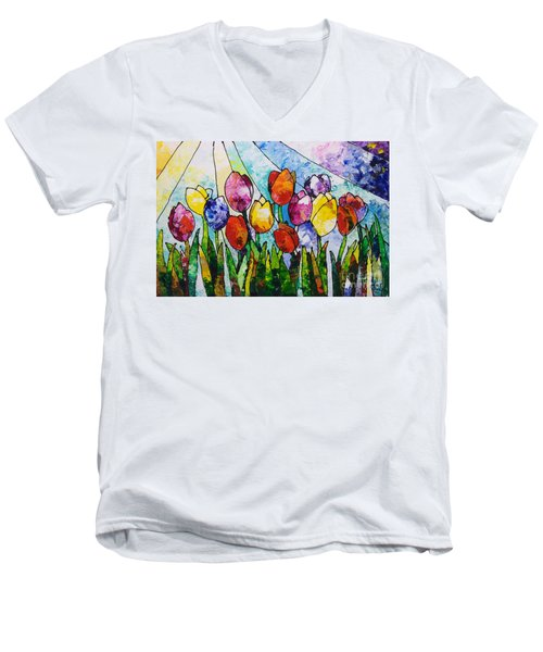 Tulips On Parade Men's V-Neck T-Shirt by Sally Trace
