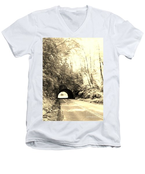 Tunnel Vision Men's V-Neck T-Shirt by Janice Spivey