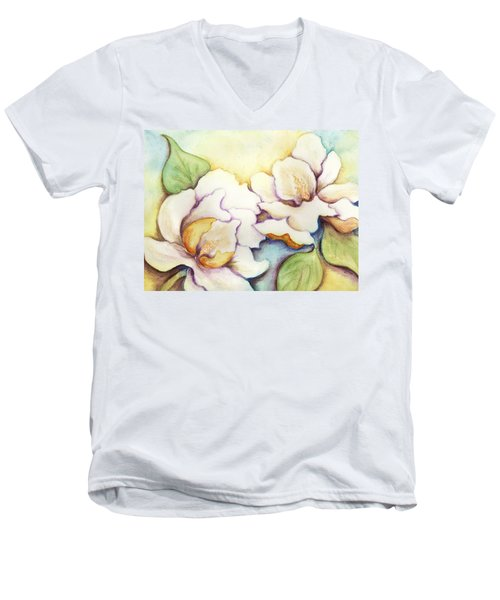 Men's V-Neck T-Shirt featuring the painting Two Magnolia Blossoms by Carla Parris