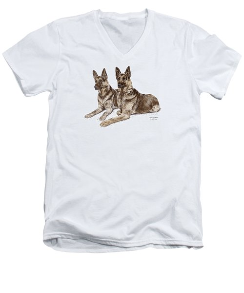 Two Of A Kind - German Shepherd Dogs Print Color Tinted Men's V-Neck T-Shirt by Kelli Swan