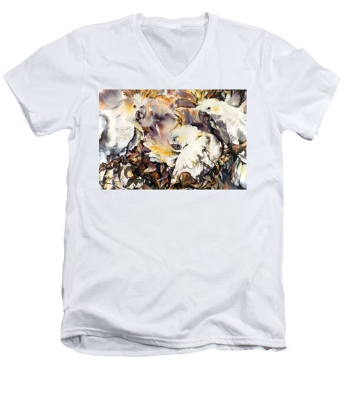 Men's V-Neck T-Shirt featuring the painting Two's Company by Rae Andrews