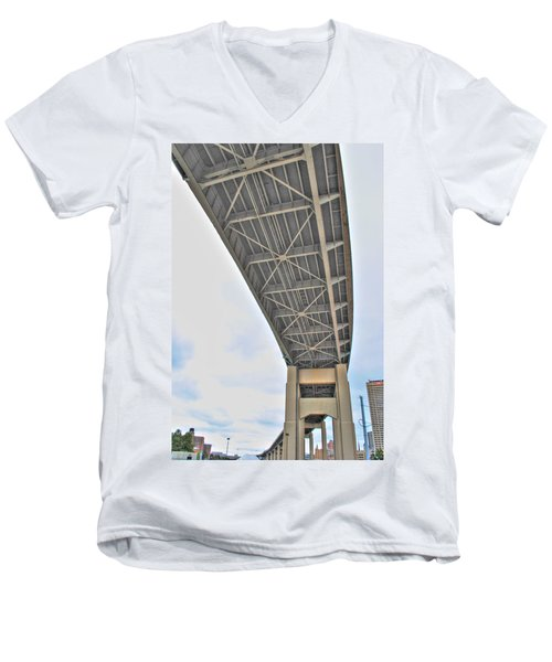 Men's V-Neck T-Shirt featuring the photograph Under The Skyway by Michael Frank Jr