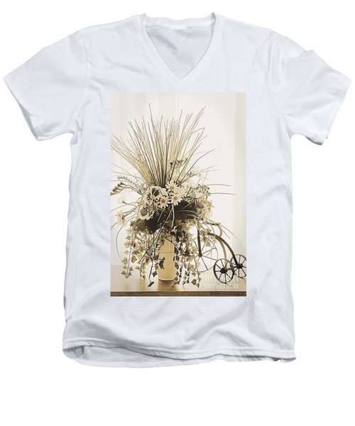 Vase With Flowers On A Window Table Men's V-Neck T-Shirt