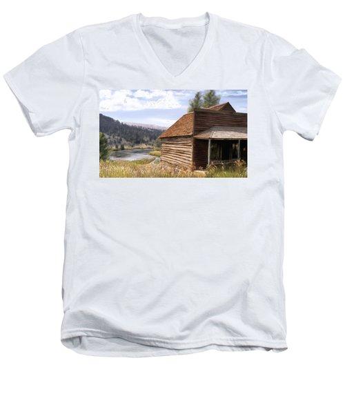 Vc Backyard Men's V-Neck T-Shirt by Susan Kinney