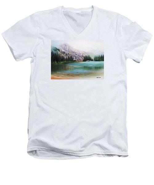 Veil Over Elk Lake Men's V-Neck T-Shirt by Patti Gordon
