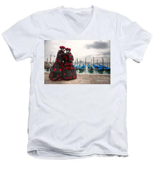 Men's V-Neck T-Shirt featuring the photograph Venice Carnival Mask by Luciano Mortula