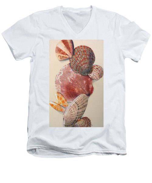 Vertical Clam Shells Men's V-Neck T-Shirt