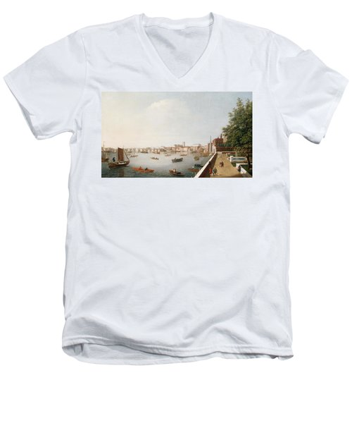 View Of The River Thames From The Adelphi Terrace  Men's V-Neck T-Shirt by William James