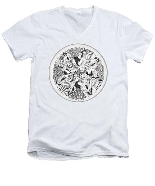 Virgae Men's V-Neck T-Shirt by Rachel Hershkovitz