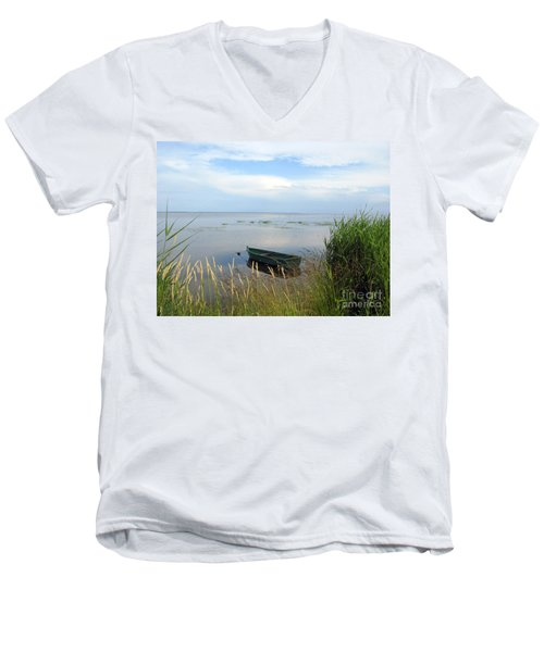 Men's V-Neck T-Shirt featuring the photograph Waiting For The Nightshift by Ausra Huntington nee Paulauskaite