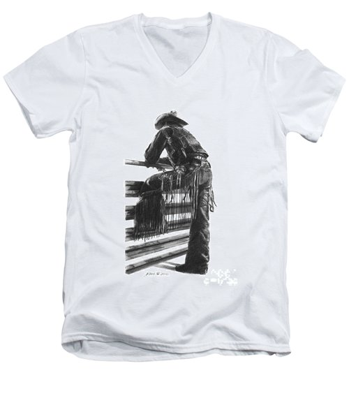 Men's V-Neck T-Shirt featuring the drawing Waiting  by Marianne NANA Betts