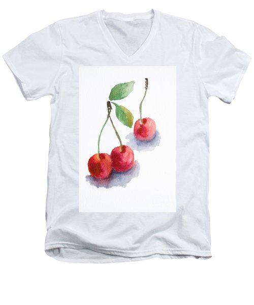 Watercolor Cherry  Men's V-Neck T-Shirt