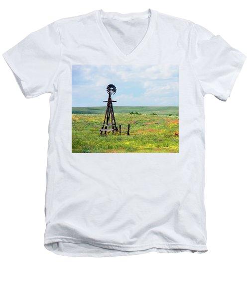 Men's V-Neck T-Shirt featuring the photograph Western Kansas Wooden Windmill  by Michael Flood