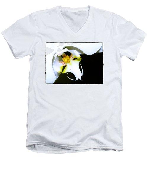White Elegance Men's V-Neck T-Shirt by Judi Bagwell