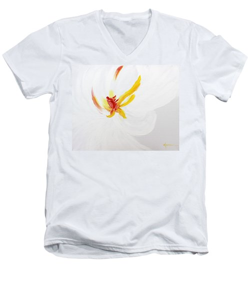Men's V-Neck T-Shirt featuring the painting White Flower by Kume Bryant
