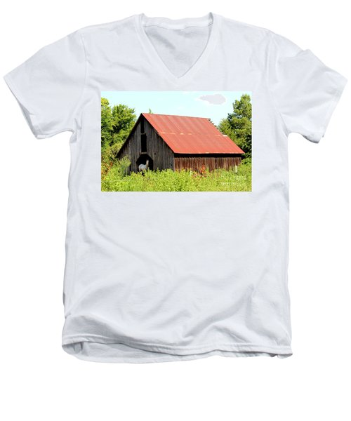 Men's V-Neck T-Shirt featuring the photograph White Horse Waiting by Kathy  White