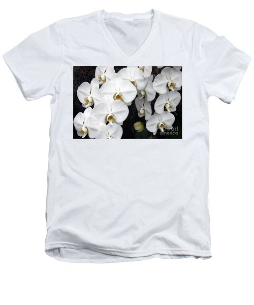 Men's V-Neck T-Shirt featuring the photograph White Orchids by Debbie Hart