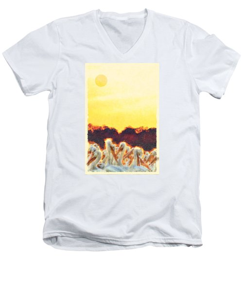 Men's V-Neck T-Shirt featuring the photograph White Pelicans In Sun by Dan Friend