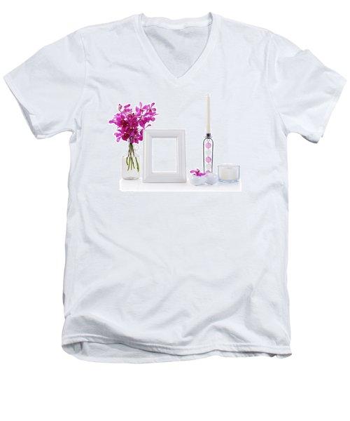 White Picture Frame In Decoration Men's V-Neck T-Shirt