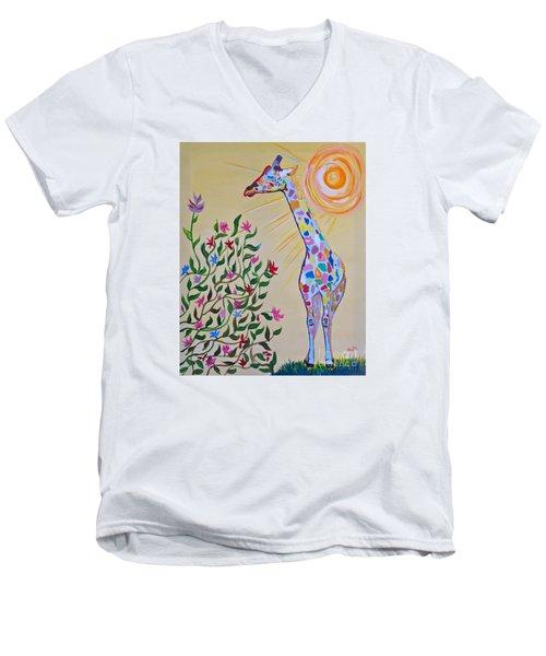 Wild And Crazy Giraffe Men's V-Neck T-Shirt by Phyllis Kaltenbach